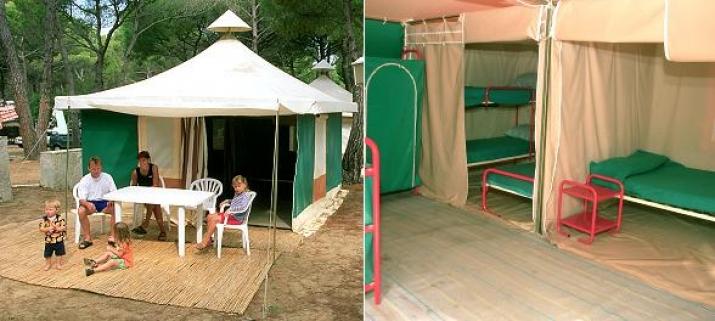 Bungalow tipo: Carpas de Lona en el Camping Refugio de Pescadores